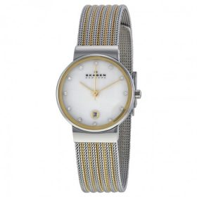 Skagen 355SSGS Ancher Mother of Pearl Dial Two-tone Mesh Ladies Watch Price In Pakistan