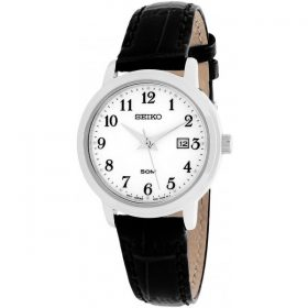 Seiko Quartz White Dial Black Leather Band Ladies Watch SUR823 Price In Pakistan