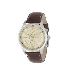Fossil Men's FS4494 Brown Leather Quartz Watch With Gold Dial Price In Pakistan
