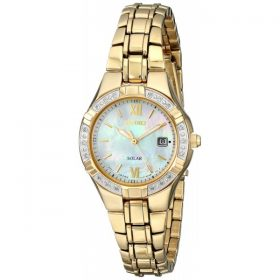 Seiko Women's SUT070 Solar-Power Gold-Tone Bracelet Watch with Diamonds Price In Pakistan