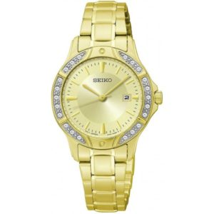 Seiko Ladies SUR874 Gold-Tone Bracelet Crystal Bezel Watch Price In Pakistan