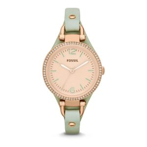Fossil Women's Georgia ES3467 Green Leather Quartz Watch With Rose Gold Dial Price In Pakistan