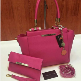 Pink Charlies & Keith High Quality Bag+Pouch Price in Pakistan