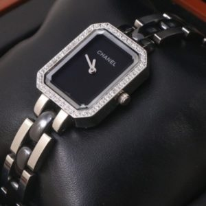 Chanel Silver Black Dial Diamond Watch