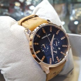 Mont Blanc Chronograph With Date Camel Brown Belt Black Dial Mens Watch Price in Pakistan
