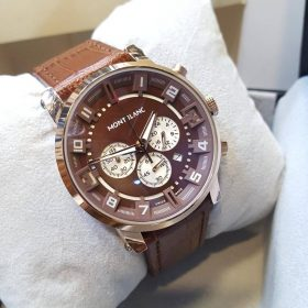 Mont Blanc Chronograph Date Display Brown Dial And Belt Price In Pakistan
