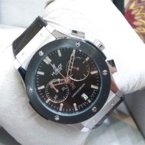 Hublot Chronograph Black Dial Leather Belt Watch