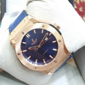 Hublot Blue Dial Copper Body Leather Belt Watch