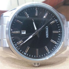 Citizen Black Dial Date Display Stainless Steel Men's Watch