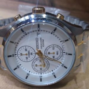 Seiko Chronograph White Dial 100M Stainless Steel