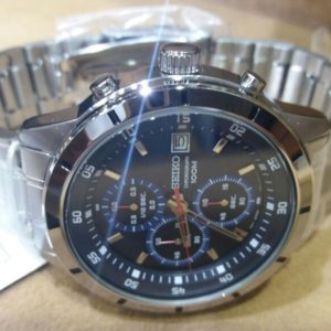 Seiko Black Dial Chronograph Stainless Steel Men's Watch