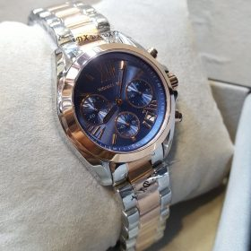 Michael Kors Chronograph Blue Dial Rose Gold Silver Men's Watch