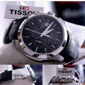 Tissot Chronograph Black Dial Copper Ring Men's Watch
