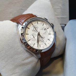 Tissot Chronograph White Dial Brown Belt Men's Watch