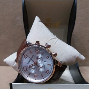 Mont Blanc Chronometer Brown Belt Men's Watch