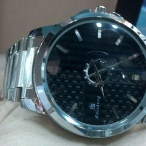 Baishang Black Dial Stainless Steel Men's Watch