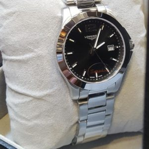 Longines Chrome Stainless Black Dial Women's Watch