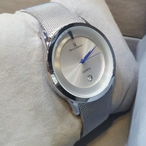 De Lawrence Blue Needles Date Display Silver Men's Watch
