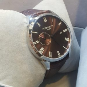 Patek Philippe Dual Dial Brown Leather Strap Watch