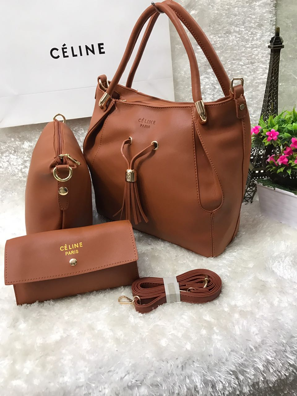 f0d9ab65f62a CÉLINE Paris 3 In 1 Handbag Set For Women Brown Price In Pakistan