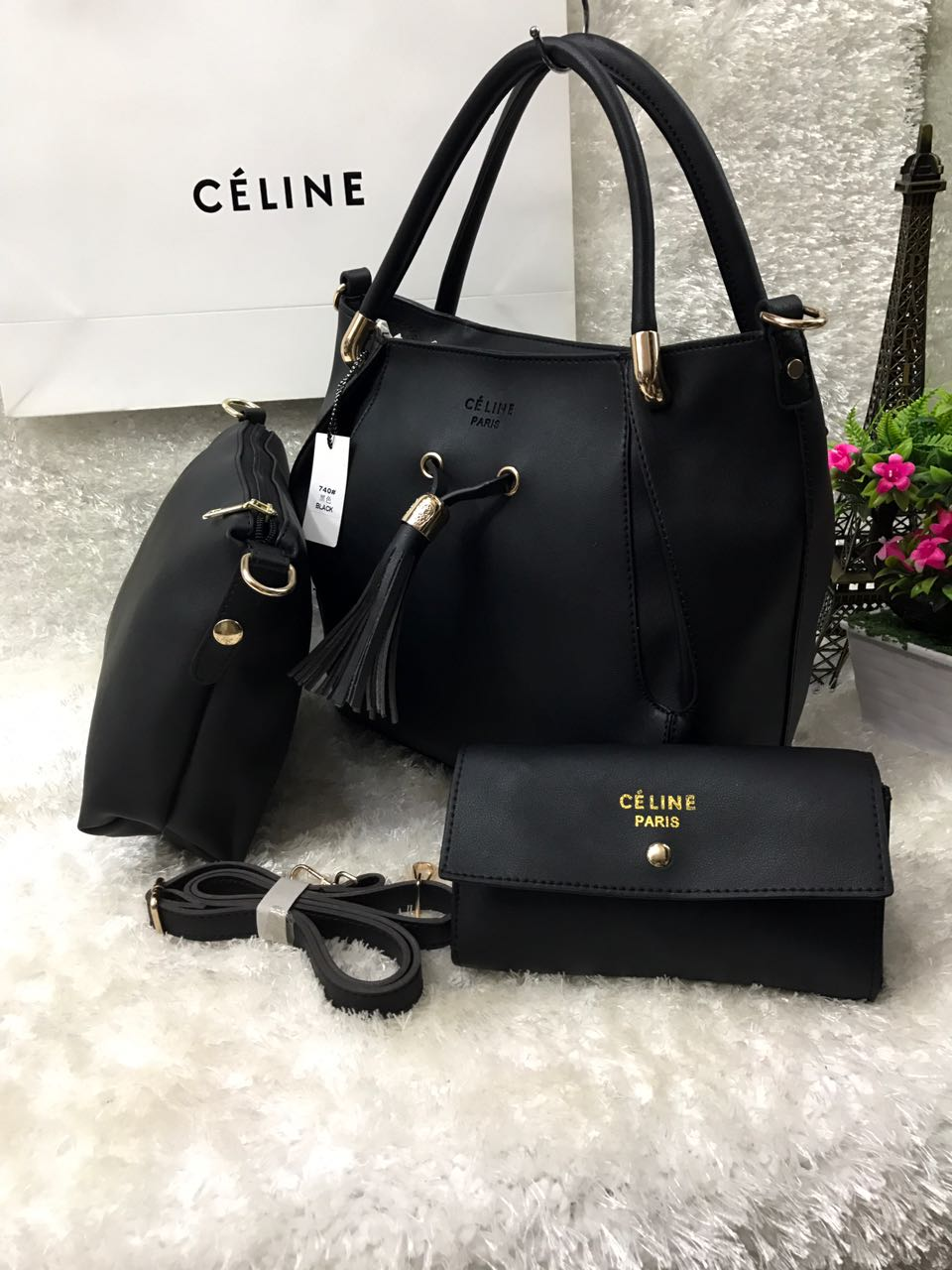 b8e82360308c CÉLINE Paris 3 In 1 Handbag Set For Women Black Price In Pakistan