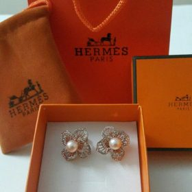 Hermes Paris Pearl Earring Golden Set With Micro Diamonds Price In Pakistan