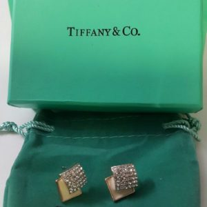 Tiffany & Co Golden Square Shaped Micro Diamond Embedded Earring Set Price In Pakistan