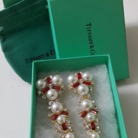 Tiffany & Co Long Root 6 Pearls With Red Stones Earring Set Price In Pakistan