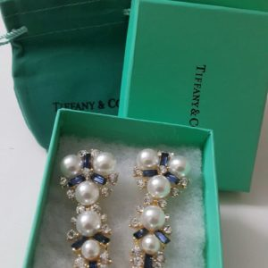 Tiffany & Co Long Root 6 Pearls With Blue Stones Earring Set Price In Pakistan