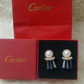 Cartier Pearl And Gold Earring With 3 Loop Bells Set Price In Pakistan