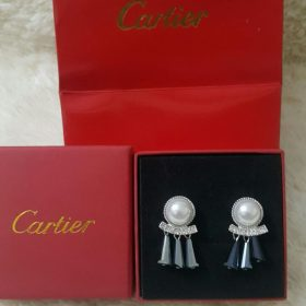 Cartier Pearl And Silver Earring With 3 Loop Bells Set