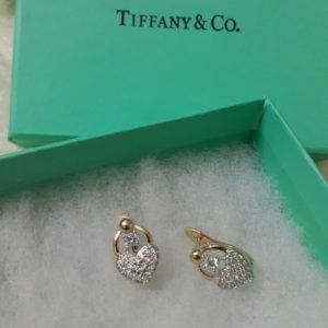 Tiffany & Co Diamond Filled Heart Shaped Golden Case Earrings Set Price In Pakistan