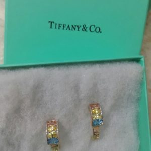 Tiffany & Co Track Shaped With Multi Color Stones Earring Set Price In Pakistan