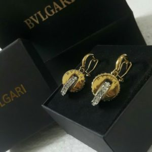 Bvlgari Cross Round Light Golden Earrings With Micro Diamonds Price In Pakistan