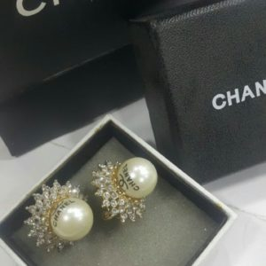 Chanel Pearl Earrings Set With Diamonds Embedded