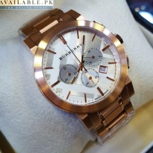 Burberry Chronograph Copper White Dial Watch Price In Pakistan