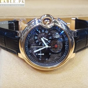 Cartier Tourbillon Bleu Chronograph Flying Black Watch With Golden Bezel Price In Pakistan