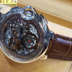 Cartier Tourbillon Bleu Chronograph Flying Brown Dial Watch With Silver Bezel Leather Belt Price In Pakistan
