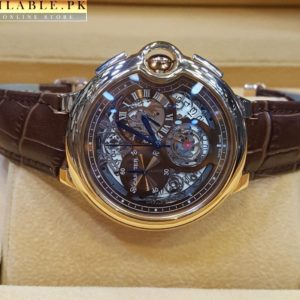 Cartier Tourbillon Bleu Chronograph Flying Brown Watch With Golden Bezel Price In Pakistan