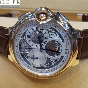 Cartier Tourbillon Bleu Chronograph Flying White Dial Watch With Golden Bezel Brown Belt Price In Pakistan