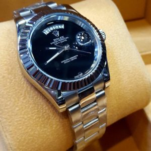 Rolex Day-Date Automatic Watch Digitless Black Dial 530