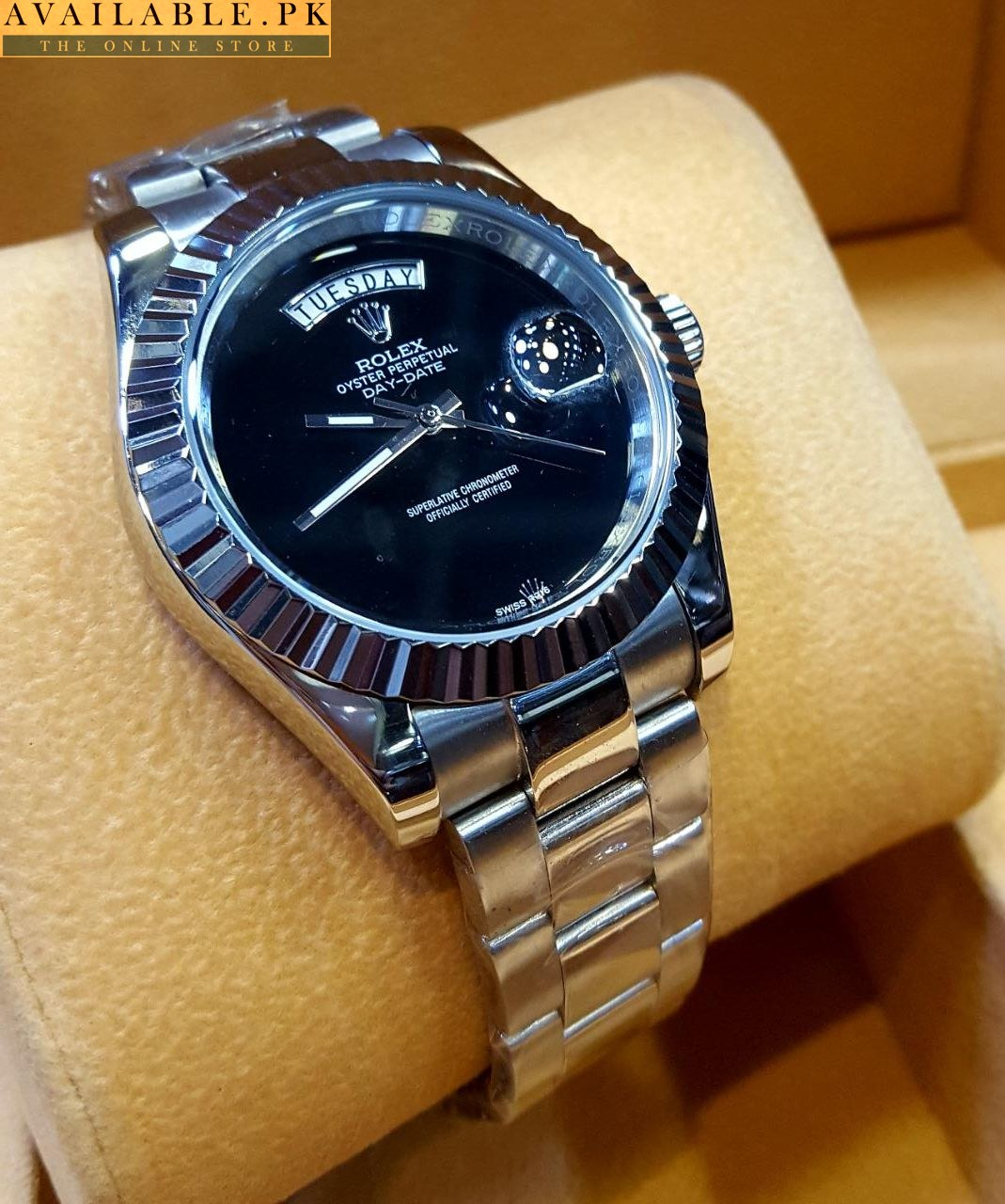 Rolex Day Date Automatic Watch Digitless Black Dial 530