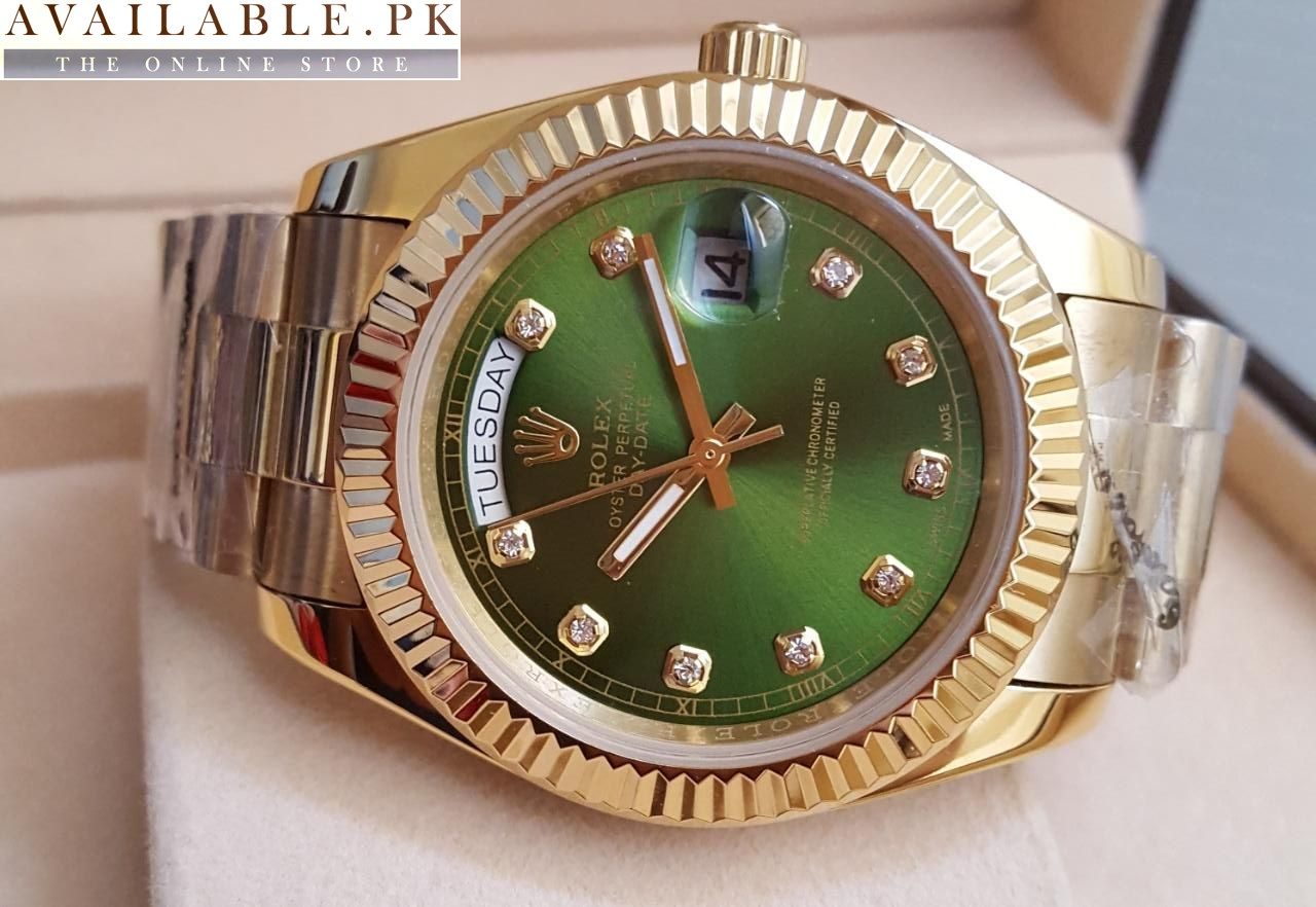 50ab185b918 Rolex Green Dial Oyster Perpetual Day Date Watch Price In Pakistan