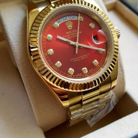 Rolex Maroon Dial Oyster Perpetual Day Date Watch