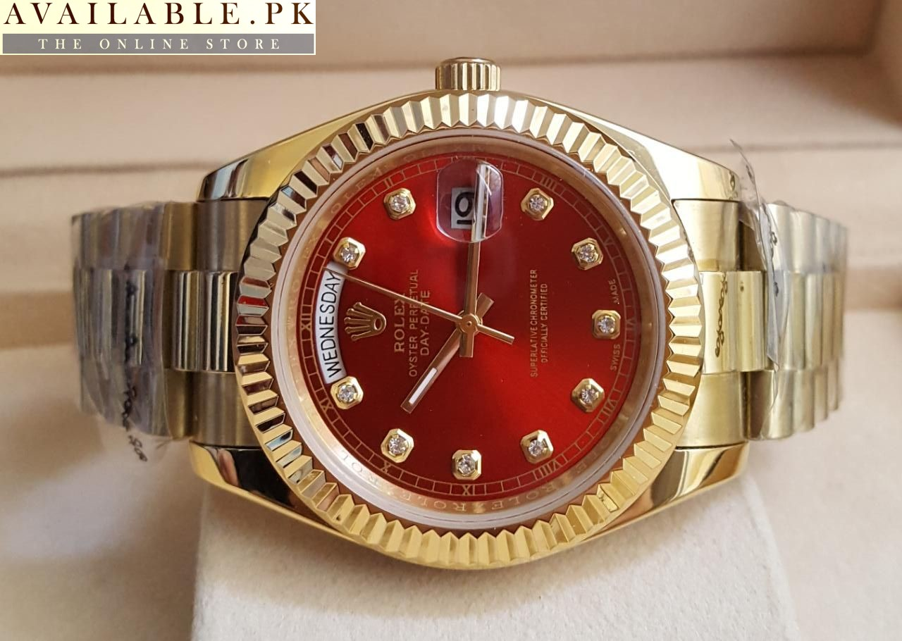 aaeafae3918 Rolex Maroon Dial Oyster Perpetual Day Date Watch Price In Pakistan 1
