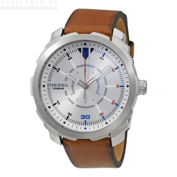 About The Product: Case diameter: 46 mm Analog-quartz Movement Case Diameter: 46mm Water Resistant To 330 Feet Product specifications Watch Information Brand, Seller, or Collection Name Diesel Model number DZ1736 Part Number DZ1736 Model Year 2016 Item Shape Round Dial window material type Mineral Display Type Analog Clasp Buckle Case material Stainless steel Case diameter 44 millimeters Case Thickness 11.5 millimeters Band Material leather calfskin Band length Men's Standard Band width 21 millimeters Band Color Brown Dial color Silver Bezel material Stainless steel Bezel function Stationary Item weight 5.28 Ounces Movement Analog quartz Water resistant depth 330 Feet