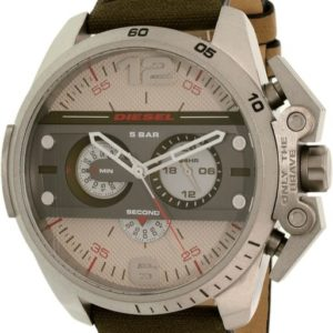 Diesel DZ4389 'Ironside' Quartz Stainless Steel and Green Leather Watch
