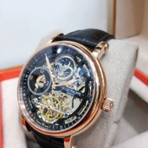 Patek Philippe Skeleton Black Dual Time Moon Phase Watch Price In Pakistan
