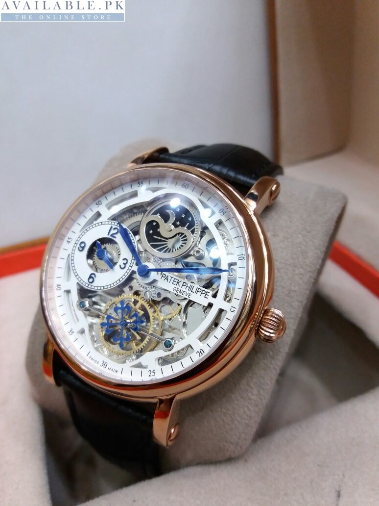 22a47d4cf76 Patek Philippe Skeleton Blue Hands Dual Time Moon Phase Watch Price In  Pakistan