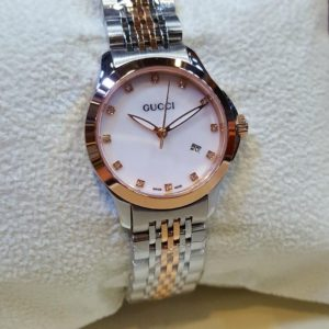 Gucci White Dial Date Display With Stones Women's Watch